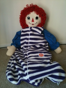 Raggedy Ann models the Party Collection Gunapod.