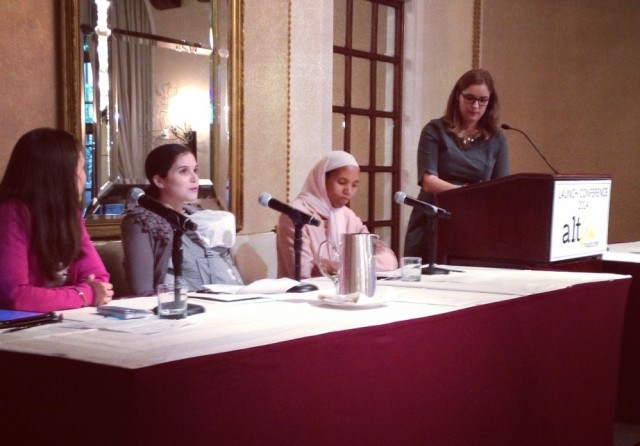 I spoke at the AltFem magazine launch while wearing - and rocking -  my newborn (the federalist.com).