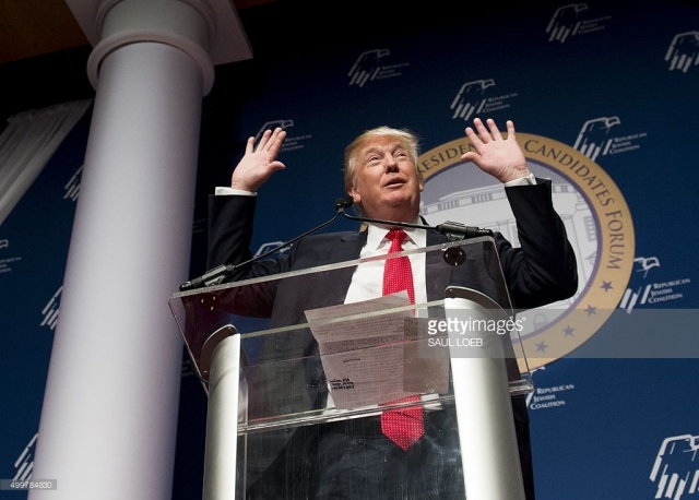 Donald Trump performs at the RJC's presidential forum  (gettyimages.com).