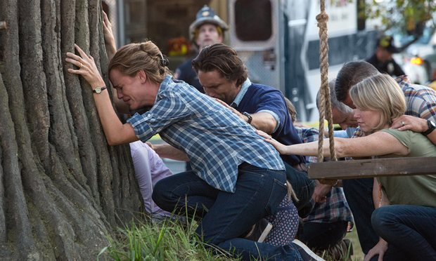 Christy Beam, played here by Jennifer Garner, prays for her daughter's well-being (theguardian.com).