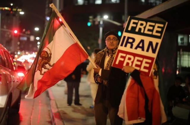 People protest in Los Angeles, California, U.S., in support of anti-government protesters in Iran